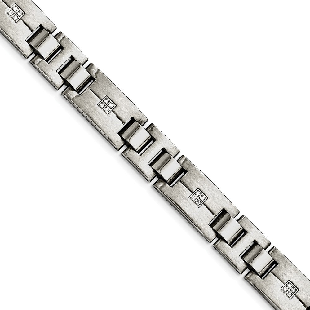 Men's 12mm Brushed & Polished Stainless Steel & CZ Bracelet, 8.75 Inch, Item B12848 by The Black Bow Jewelry Co.