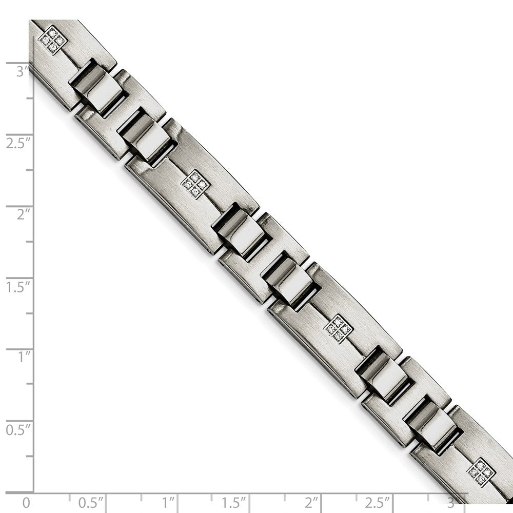 Alternate view of the Men's 12mm Brushed & Polished Stainless Steel & CZ Bracelet, 8.75 Inch by The Black Bow Jewelry Co.