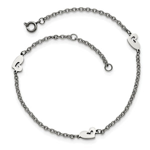 Asymmetrical Heart Anklet in Stainless Steel, 9-10 Inch - The Black Bow Jewelry Co.
