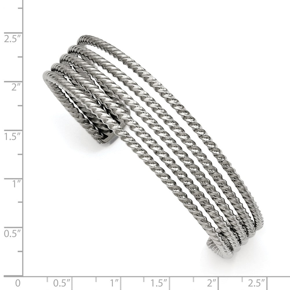 Alternate view of the 17mm Stainless Steel Twisted & Tapered Cuff Bracelet by The Black Bow Jewelry Co.