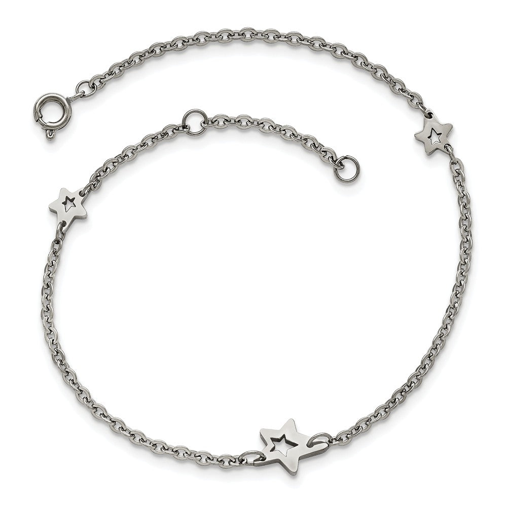 Stainless Steel Cutout Star Charms Anklet, 9-10 Inch, Item B12903 by The Black Bow Jewelry Co.