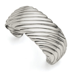 31mm Stainless Steel Polished Striped Cuff Bracelet - The Black Bow Jewelry Co.