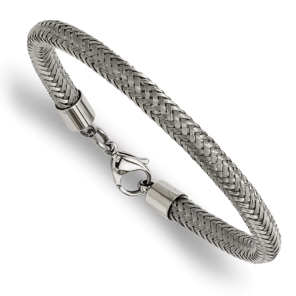 6mm Braided Stainless Steel Wire Bracelet, 8 Inch, Item B12926 by The Black Bow Jewelry Co.