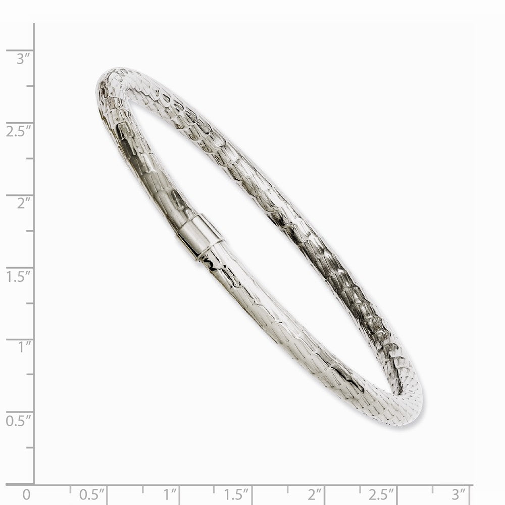 Alternate view of the 6mm Stainless Steel Textured & Polished Hollow Bangle Bracelet by The Black Bow Jewelry Co.