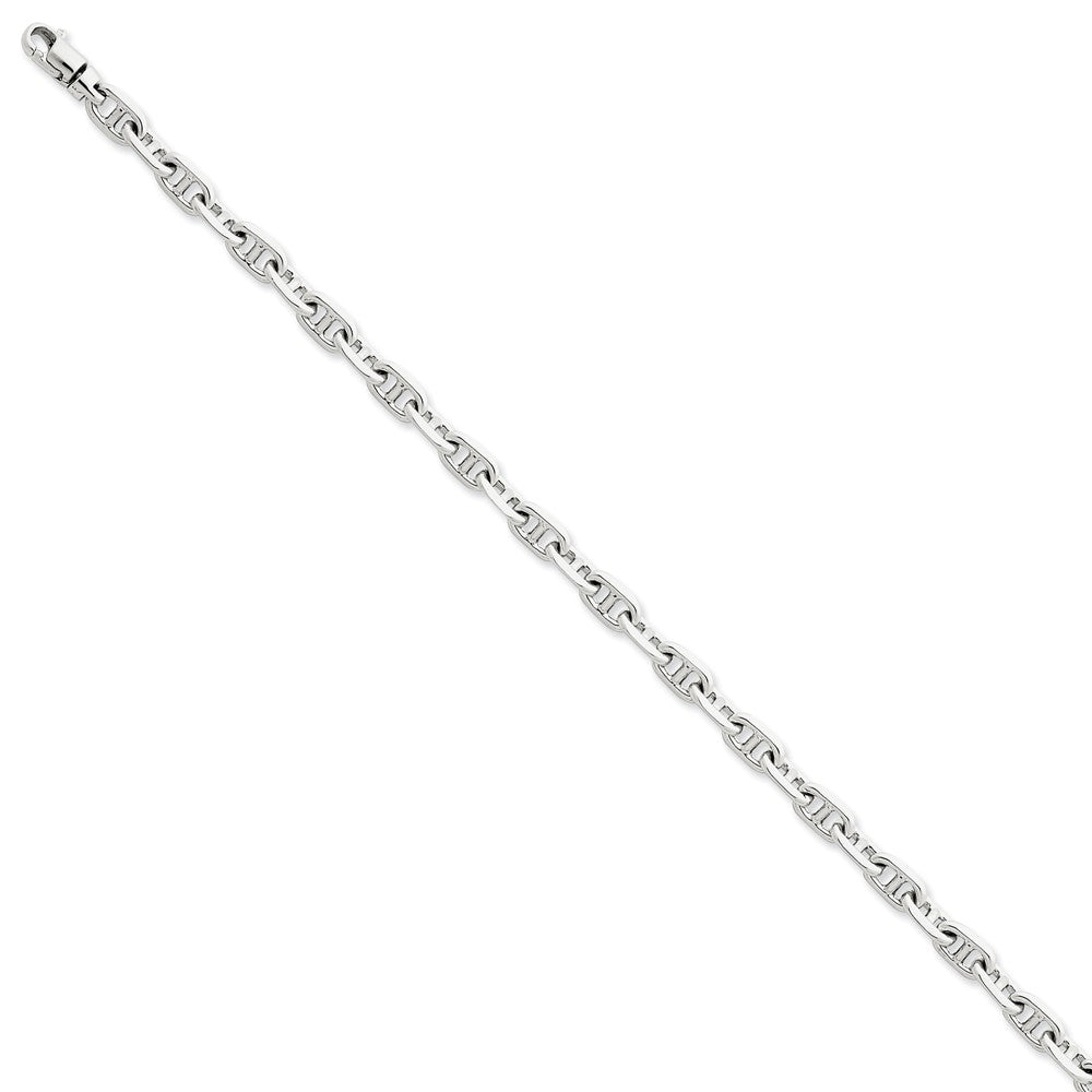 14k White Gold 5mm Fancy Anchor Link Chain Bracelet - The Black Bow Jewelry Co.