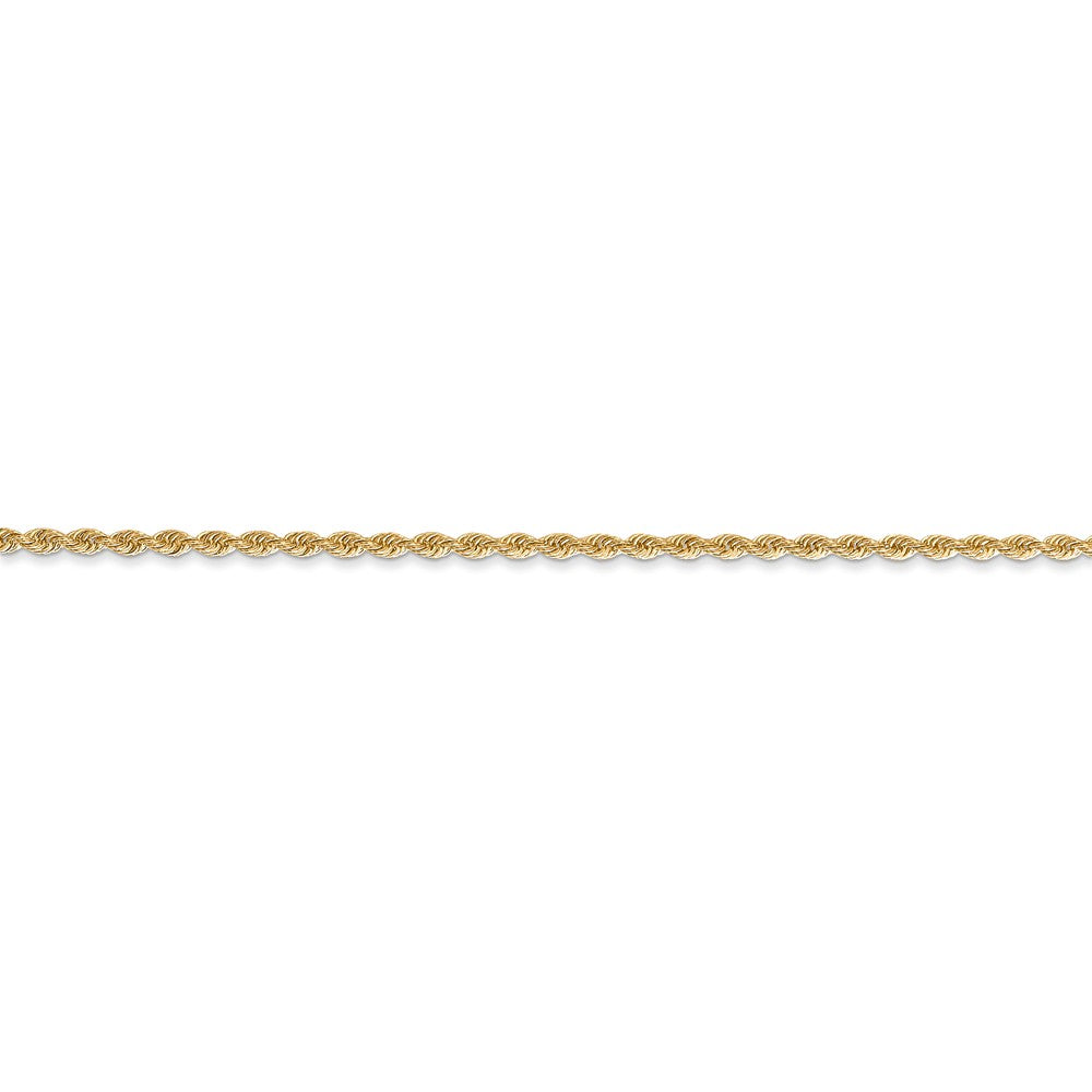 Alternate view of the 1.5mm, 14k Yellow Gold Handmade Rope Chain Bracelet by The Black Bow Jewelry Co.
