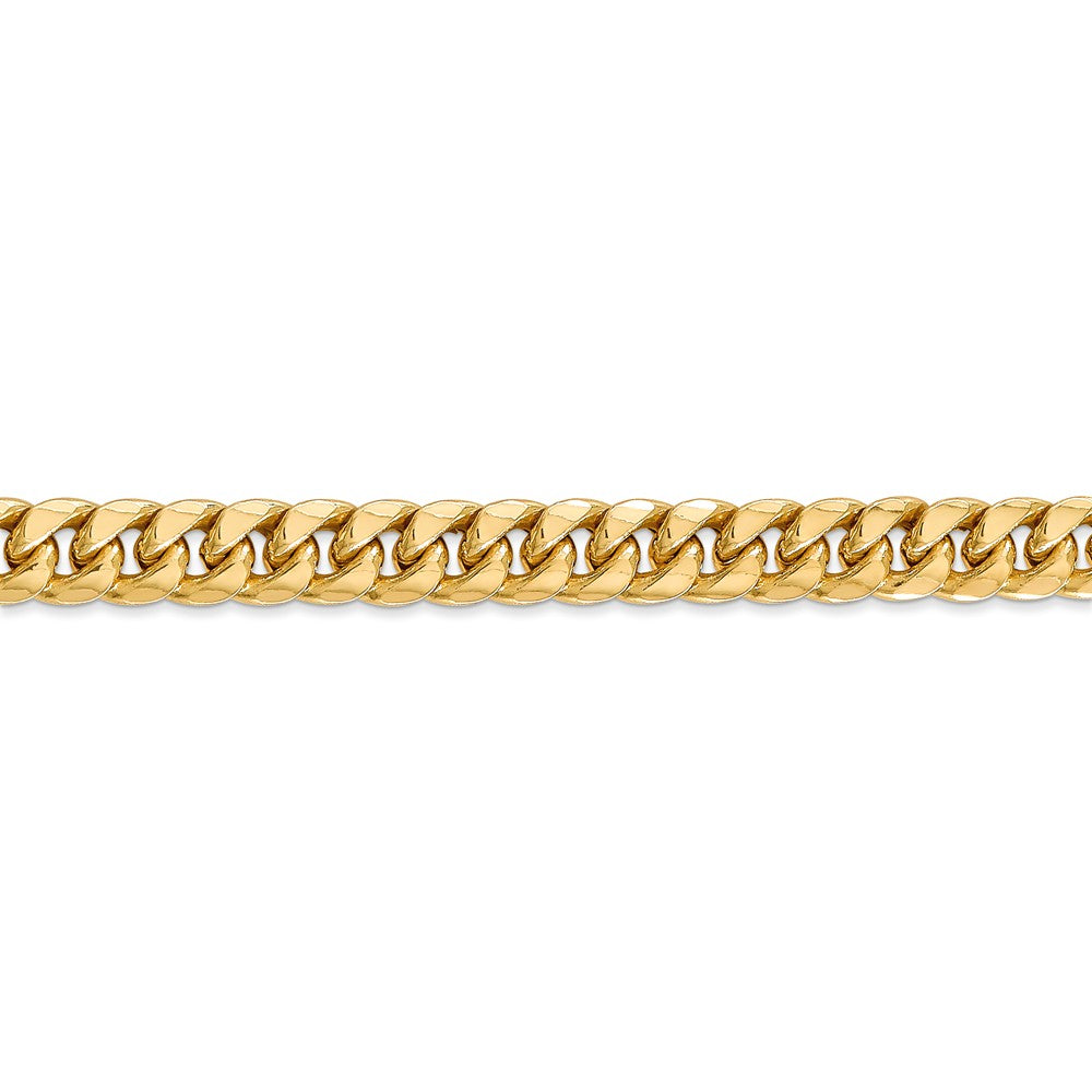 Alternate view of the 6.75mm 14k Yellow Gold Cuban Curb Chain Bracelet by The Black Bow Jewelry Co.