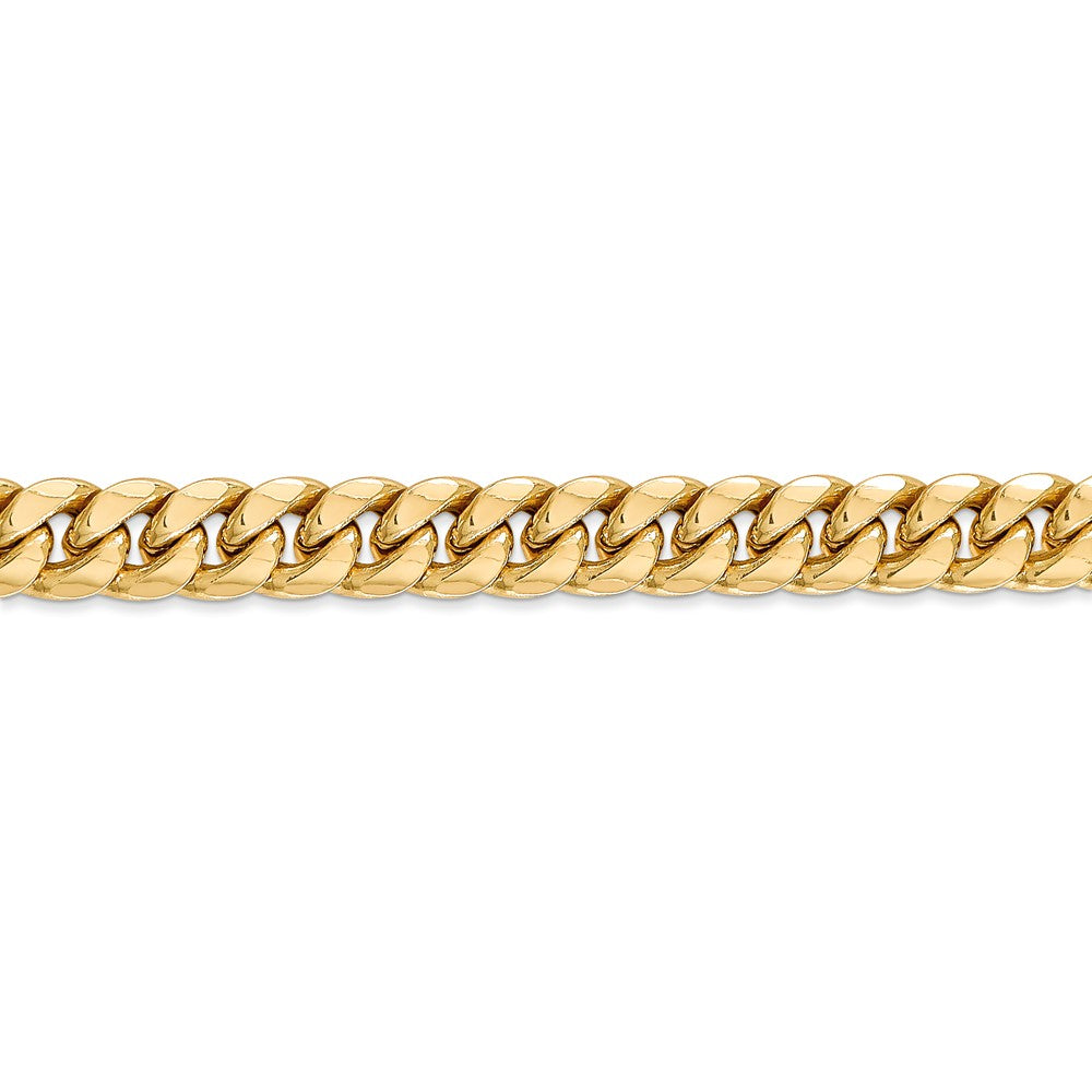 Alternate view of the 7.3mm 14k Yellow Gold Cuban Curb Chain Bracelet by The Black Bow Jewelry Co.