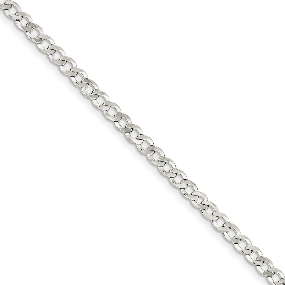 4.5mm Sterling Silver Solid Flat Curb Chain Bracelet - The Black Bow Jewelry Co.