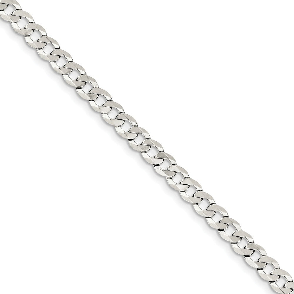 5.75mm Sterling Silver Solid Flat Curb Chain Bracelet - The Black Bow Jewelry Co.