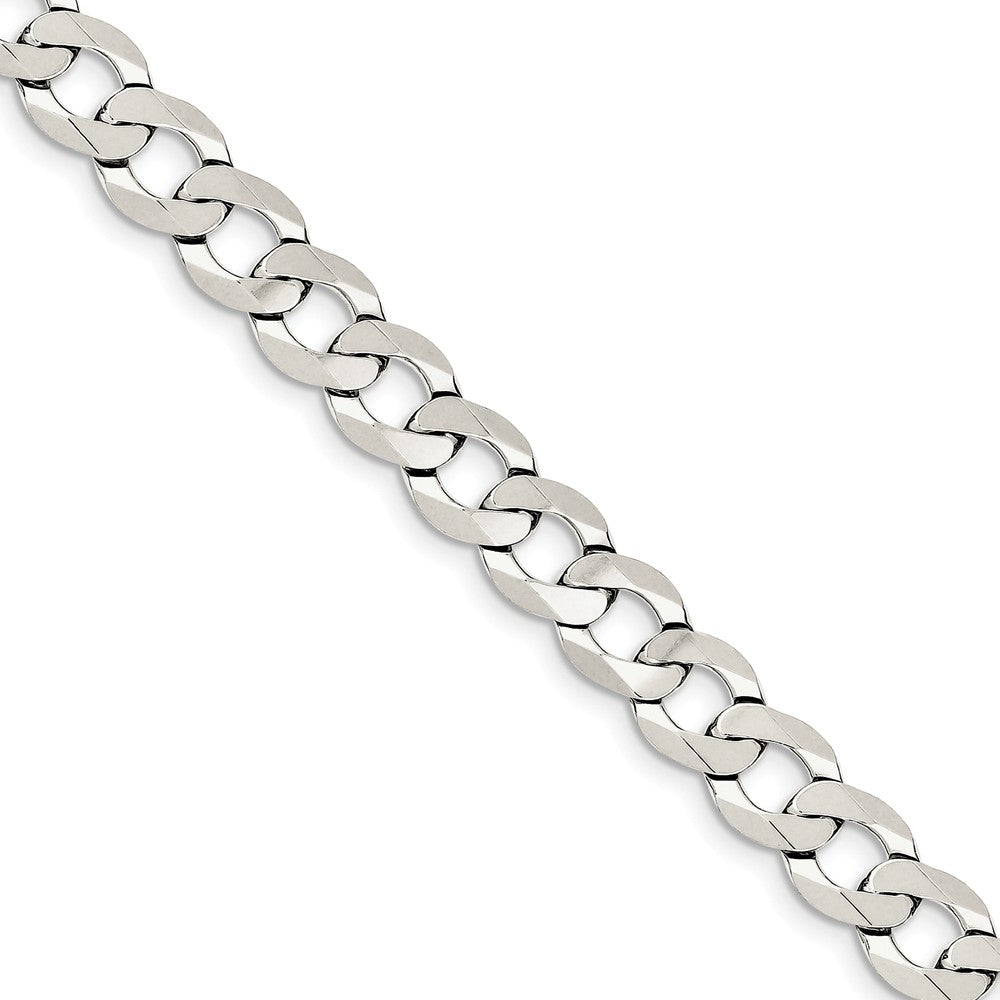 9.75mm Sterling Silver Solid Flat Curb Chain Bracelet - The Black Bow Jewelry Co.
