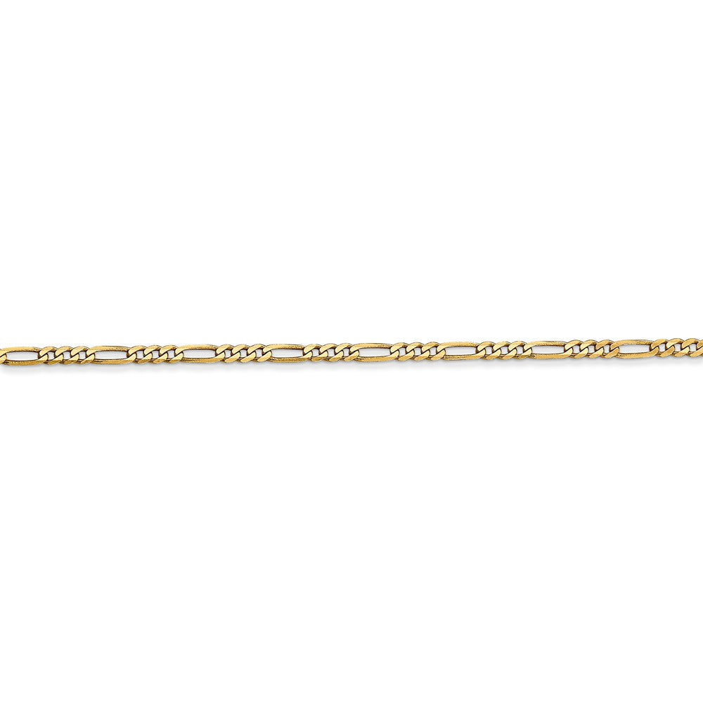 Alternate view of the 14k Yellow Gold 1.8mm Flat Figaro Chain Bracelet by The Black Bow Jewelry Co.