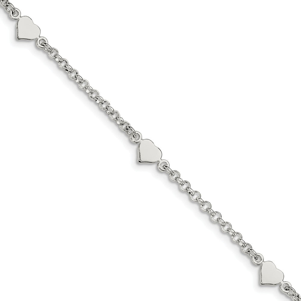 Child's Sterling Silver Heart Station Cable Chain Bracelet, 5.5 Inch, Item B13038 by The Black Bow Jewelry Co.