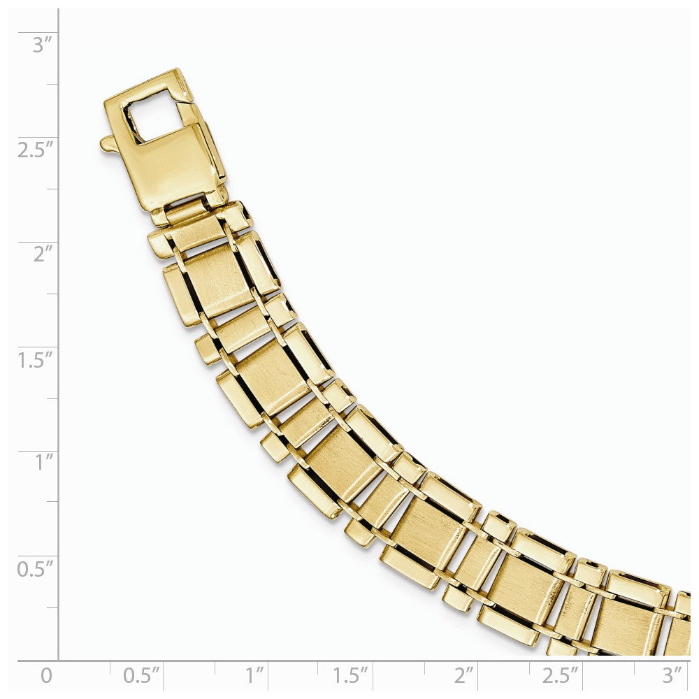 Alternate view of the Men's 12mm 14k Yellow Gold Brushed & Polished Link Bracelet, 8.5 Inch by The Black Bow Jewelry Co.