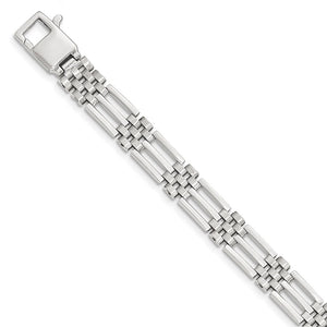 Men's 9mm 14k White Gold Bar and Panther Link Bracelet, 8.5 Inch - The Black Bow Jewelry Co.