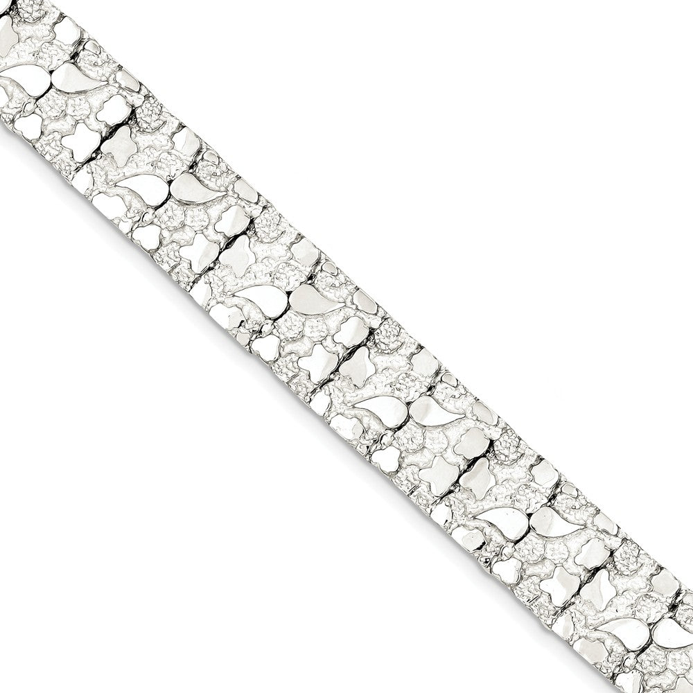 15mm Sterling Silver Nugget Link Bracelet, 8.5 Inch, Item B13080 by The Black Bow Jewelry Co.