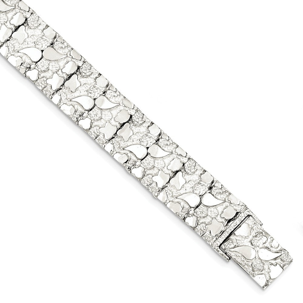 Alternate view of the 15mm Sterling Silver Nugget Link Bracelet, 8.5 Inch by The Black Bow Jewelry Co.