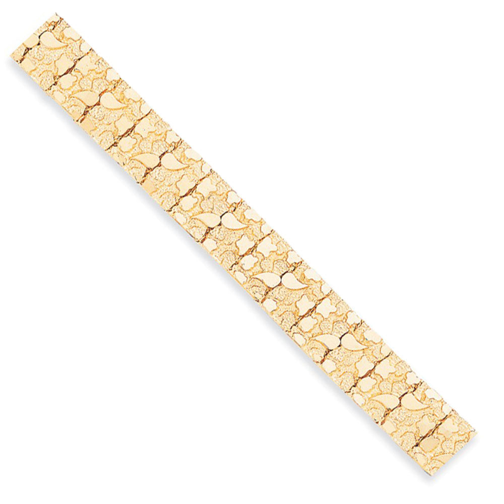 15mm 14k Yellow Gold Nugget Link Bracelet, 8 Inch, Item B13090 by The Black Bow Jewelry Co.