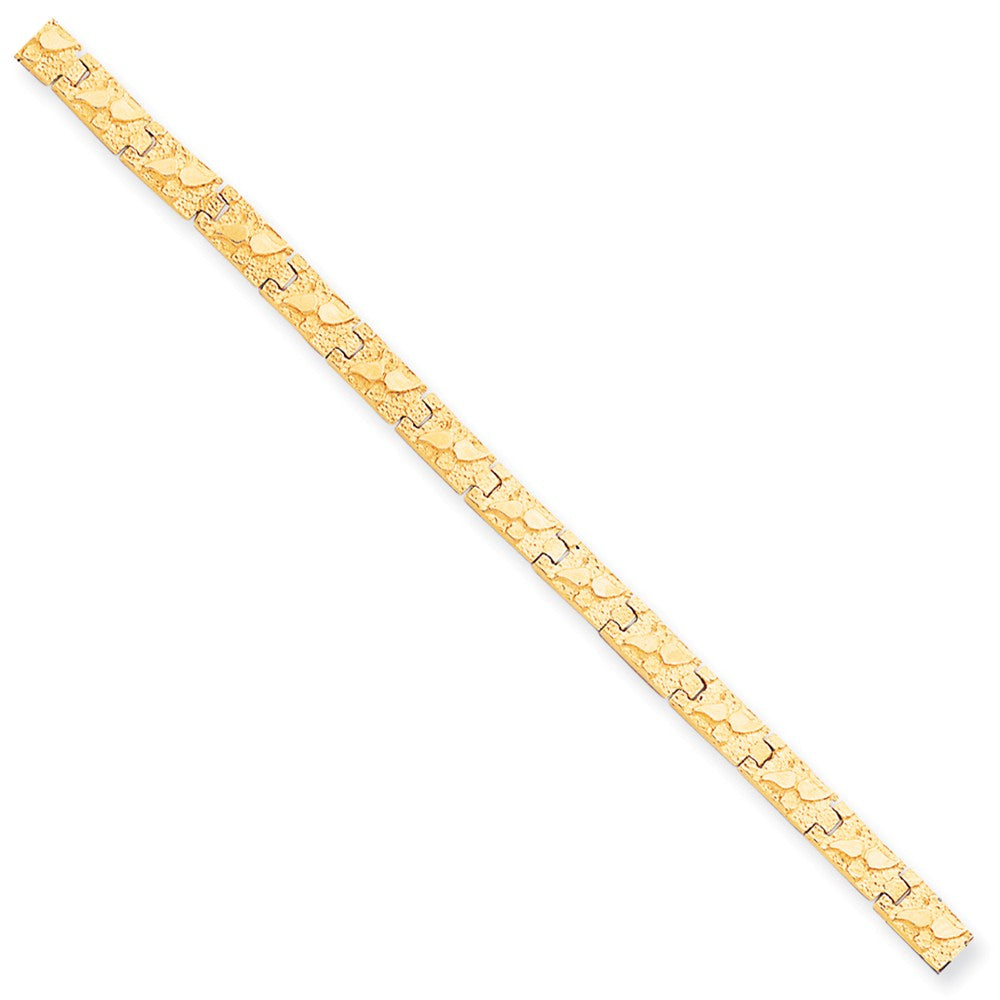 Alternate view of the 6mm 10k Yellow Gold Nugget Link Bracelet, 8 Inch by The Black Bow Jewelry Co.