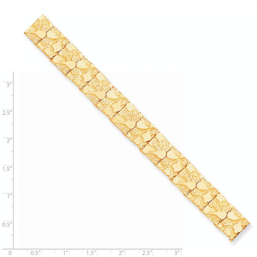 Alternate view of the 12mm 10k Yellow Gold Nugget Link Bracelet, 7 Inch by The Black Bow Jewelry Co.