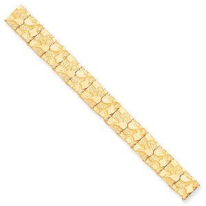 12mm 10k Yellow Gold Nugget Link Bracelet, 8 Inch