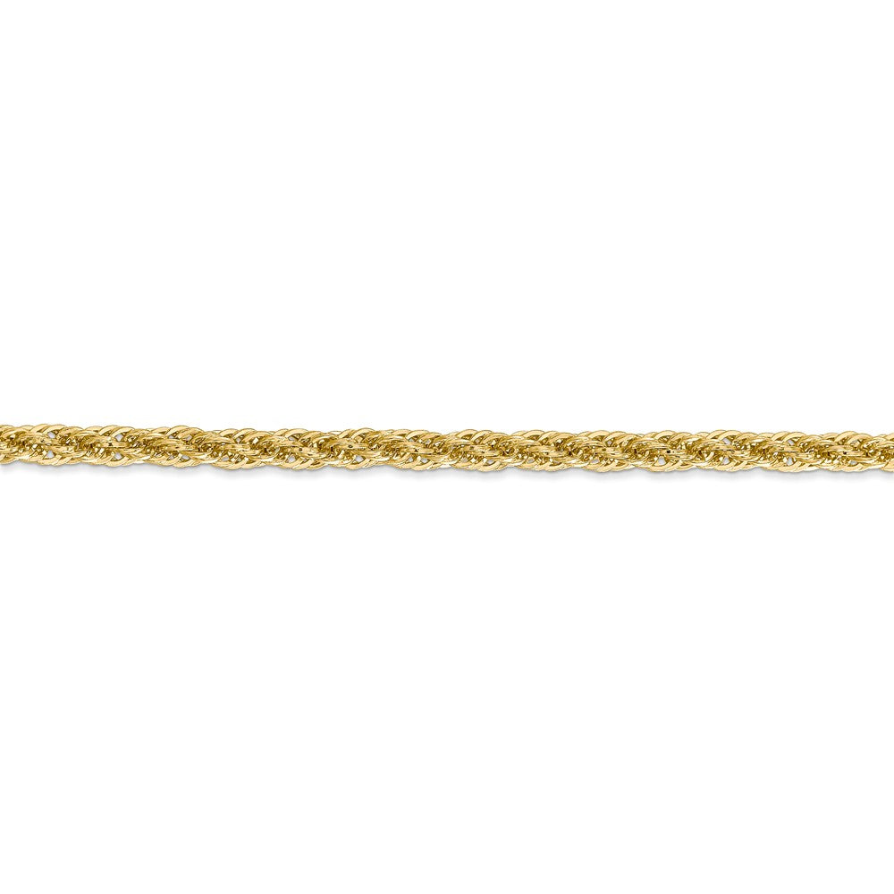Alternate view of the 3.3mm 14k Yellow Gold Diamond Cut Rope Chain Bracelet, 7 Inch by The Black Bow Jewelry Co.