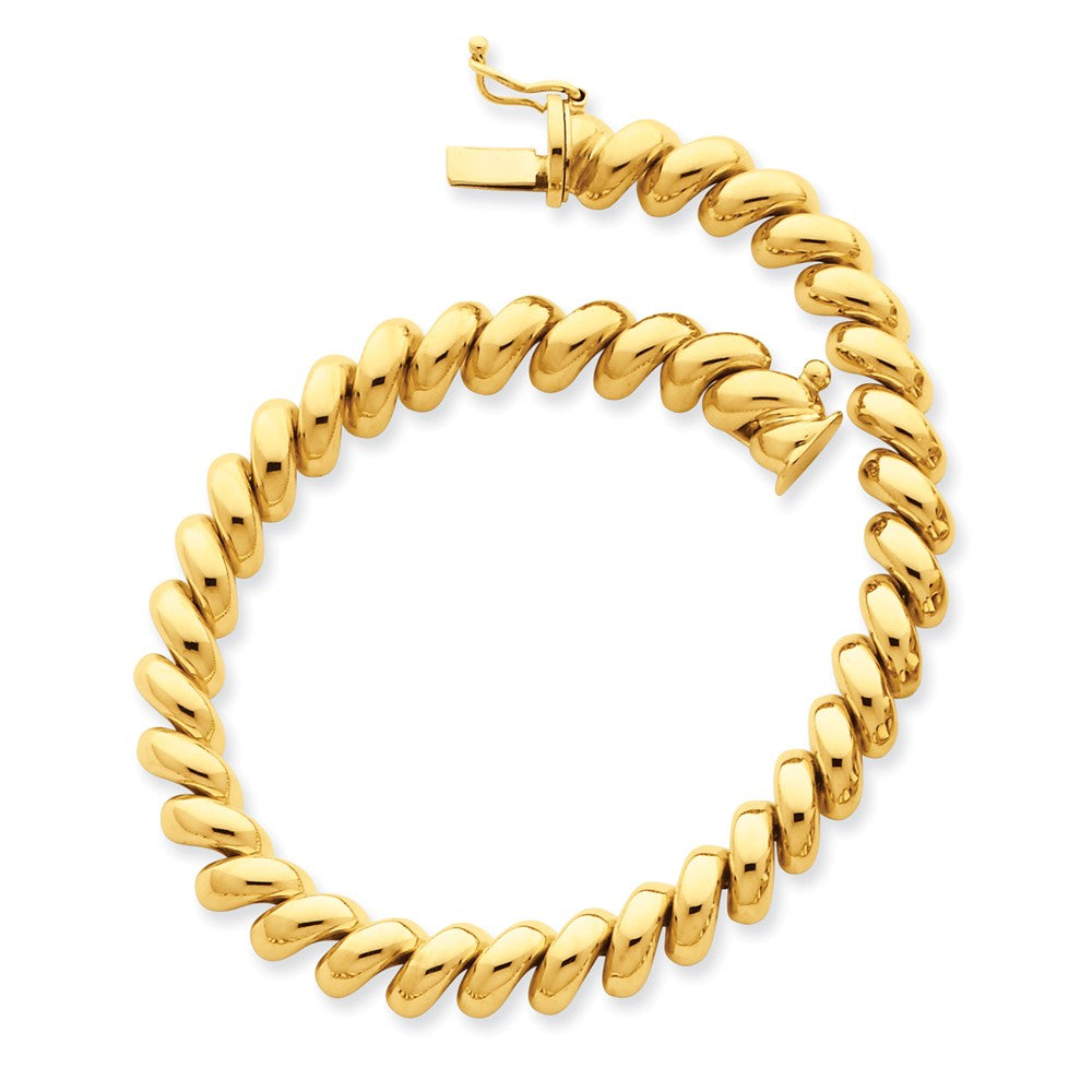 14k Yellow Gold 6mm Polished Hollow San Marco Chain Bracelet - The Black Bow Jewelry Co.