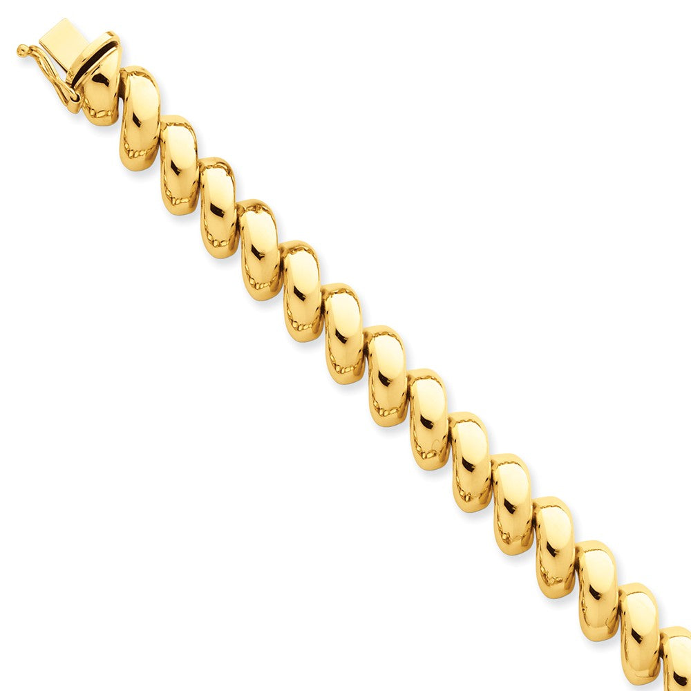 14k Yellow Gold 10mm Polished Hollow San Marco Chain Bracelet - The Black Bow Jewelry Co.