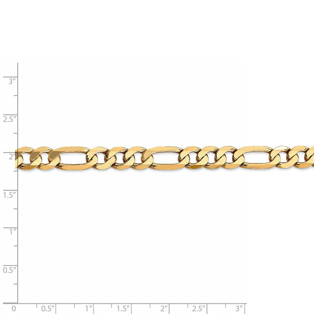 Alternate view of the 7.5mm 14k Yellow Gold Flat Figaro Chain Bracelet by The Black Bow Jewelry Co.