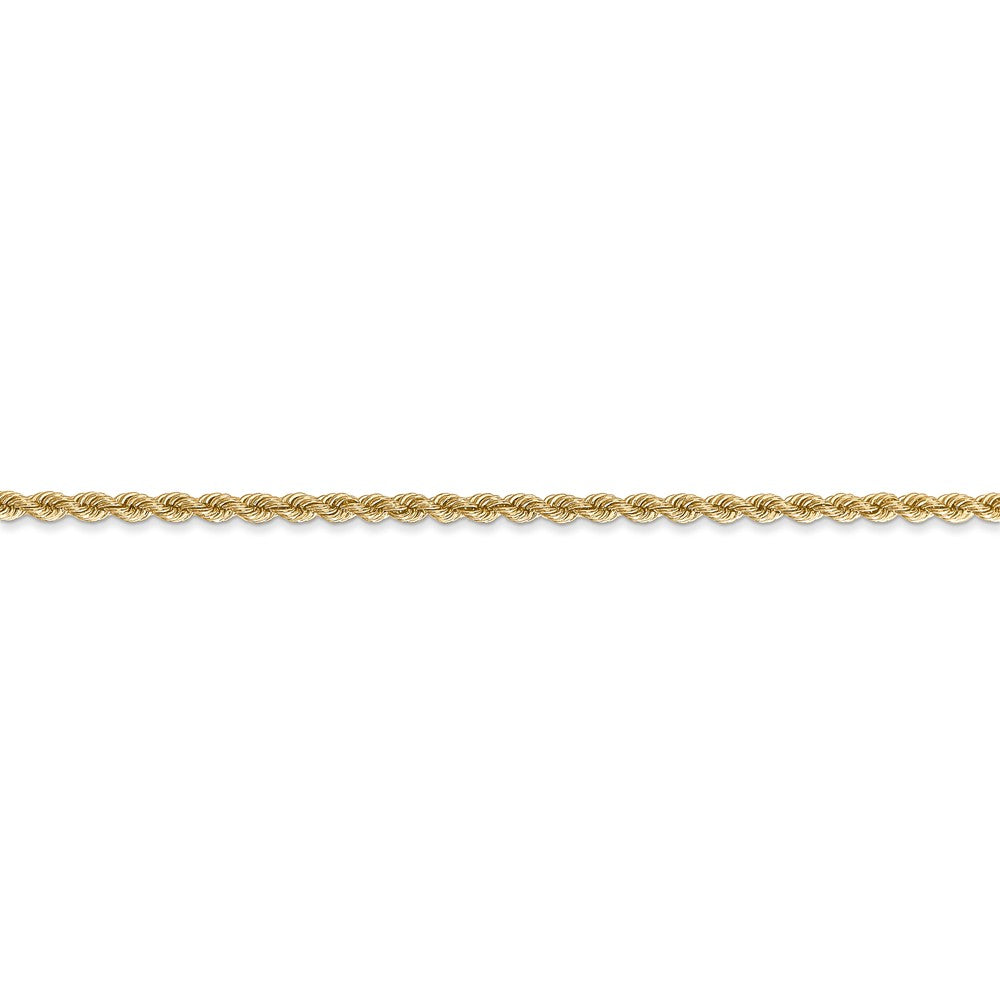 Alternate view of the 14k Yellow Gold 2.25mm Handmade Solid Classic Rope Chain Bracelet by The Black Bow Jewelry Co.