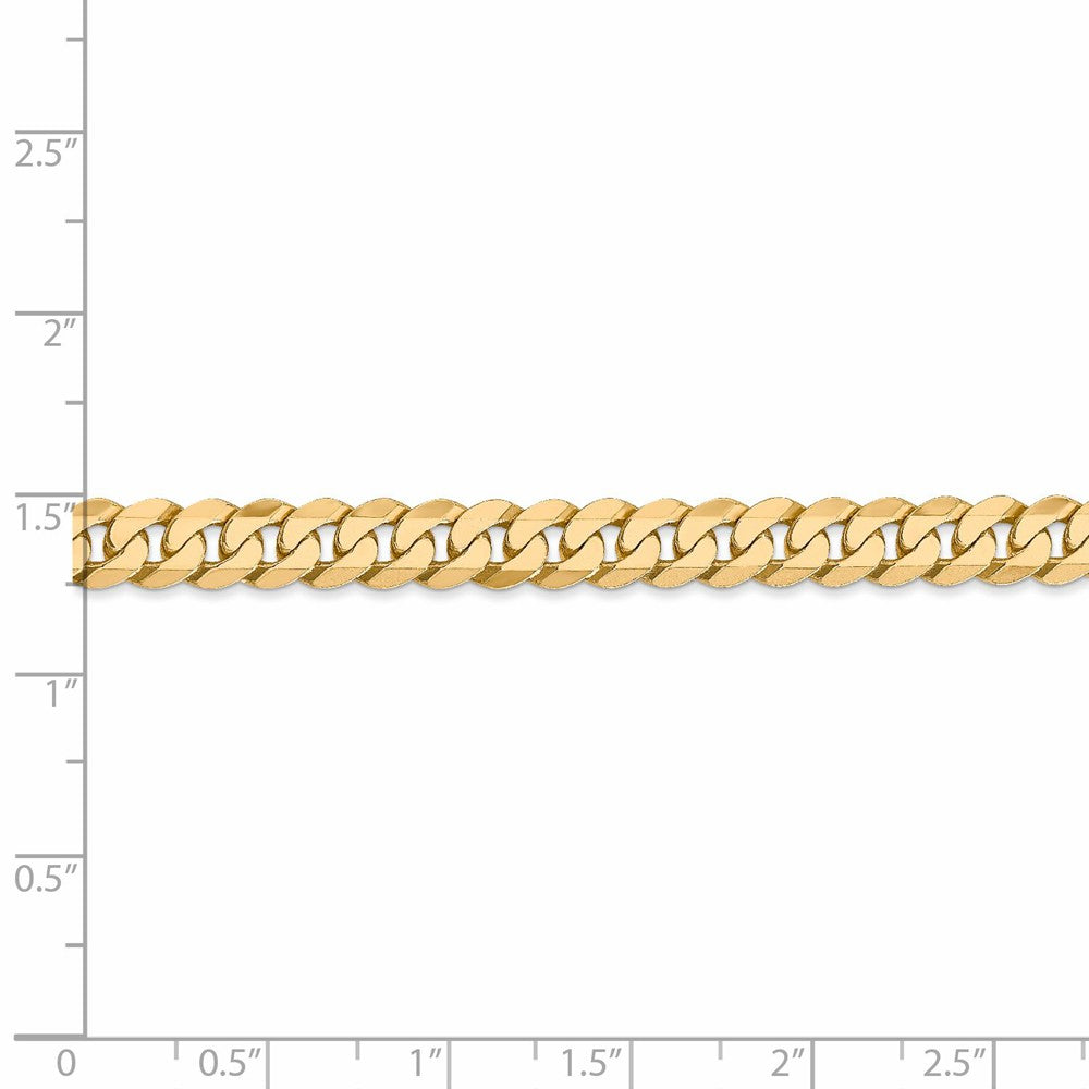 Alternate view of the 6.1mm 14k Yellow Gold Beveled Curb Chain Bracelet by The Black Bow Jewelry Co.
