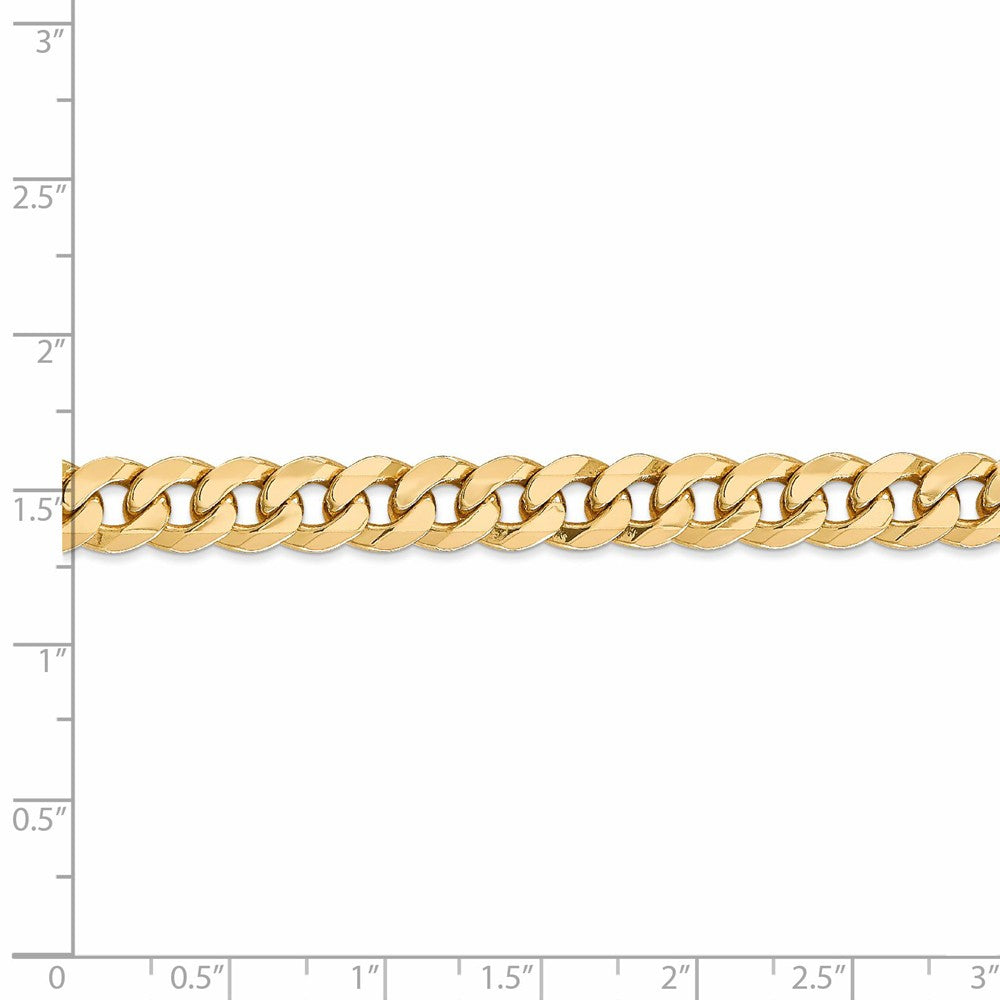 Alternate view of the 8mm 14k Yellow Gold Beveled Curb Chain Bracelet by The Black Bow Jewelry Co.