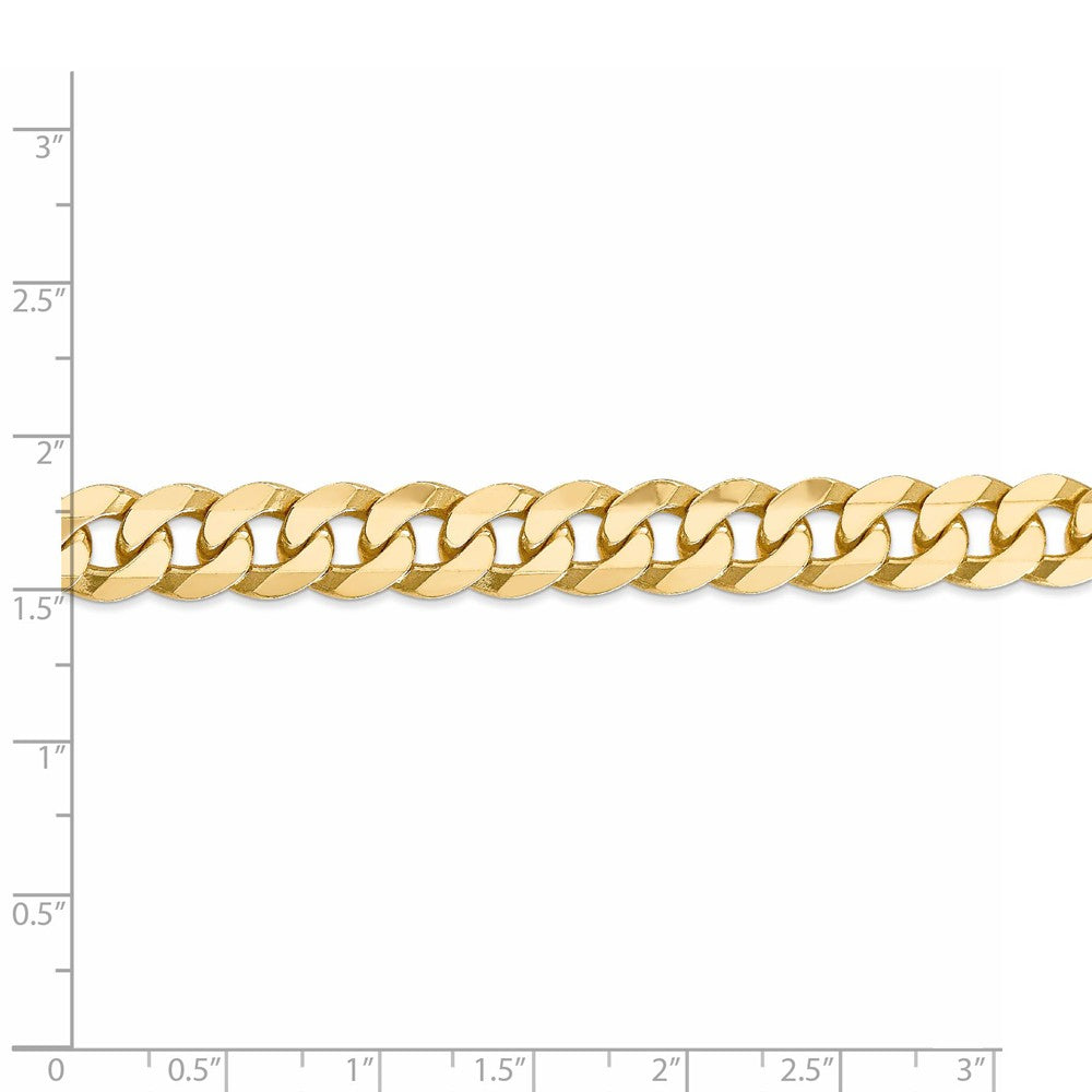 Alternate view of the 9.5mm 14k Yellow Gold Beveled Curb Chain Bracelet by The Black Bow Jewelry Co.
