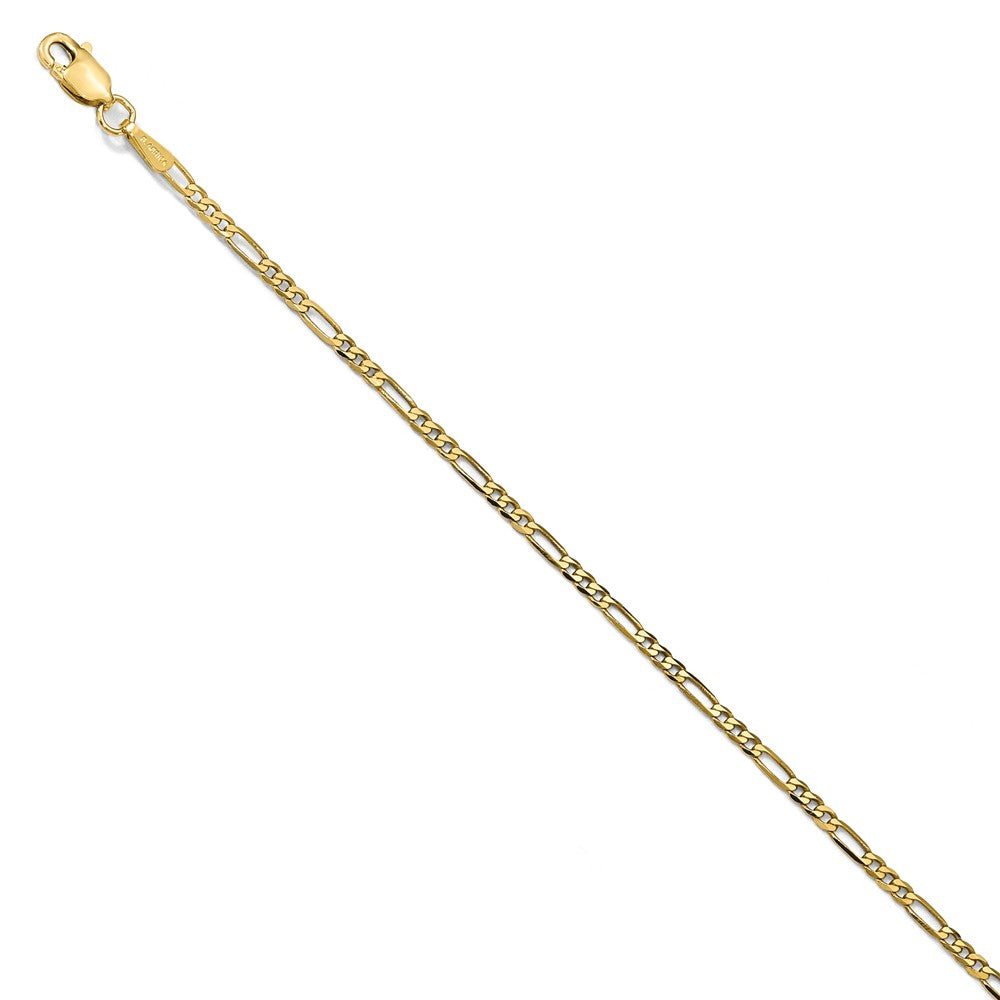 1.8mm 14k Yellow Gold Flat Figaro Chain Bracelet - The Black Bow Jewelry Co.
