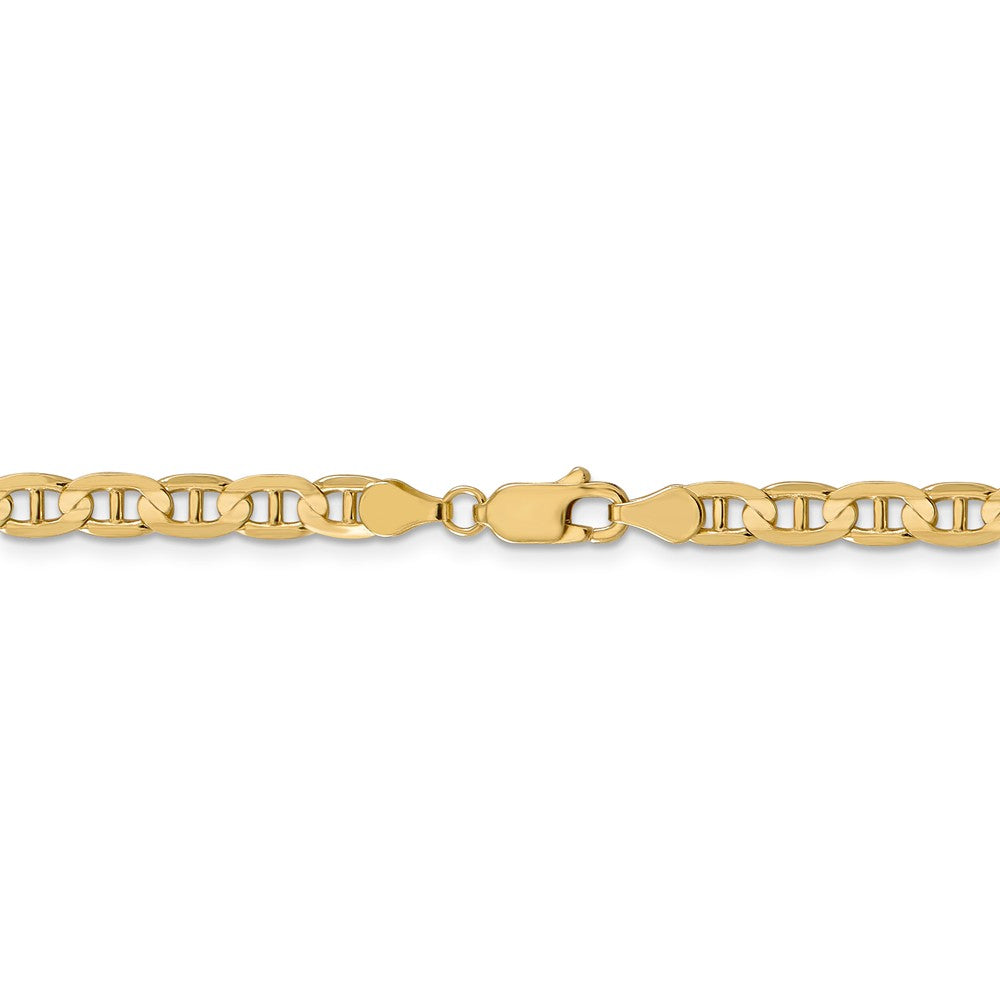 Alternate view of the 4.5mm 14k Yellow Gold Concave Anchor Chain Bracelet by The Black Bow Jewelry Co.