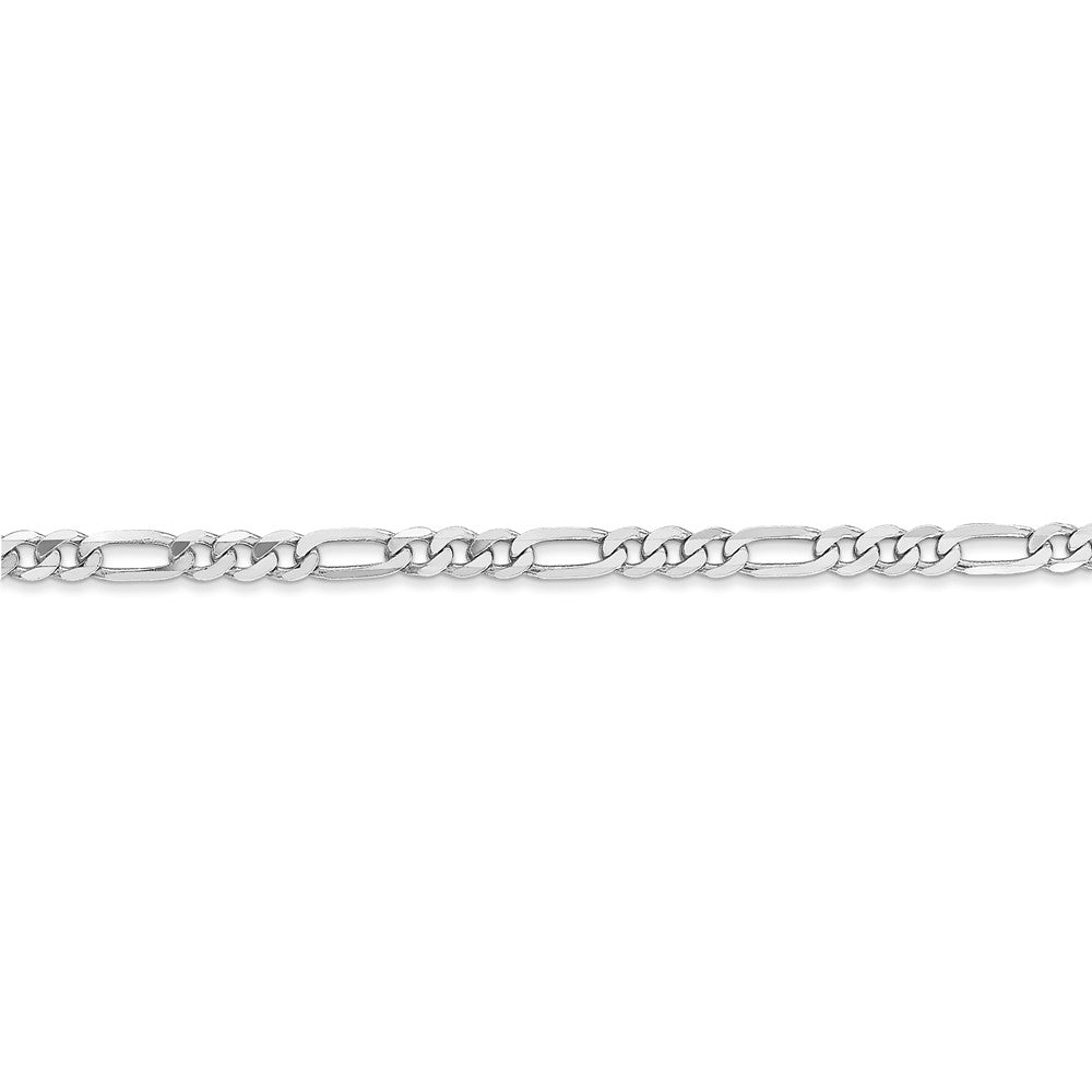 Alternate view of the 3mm 14k White Gold Flat Figaro Chain Bracelet by The Black Bow Jewelry Co.