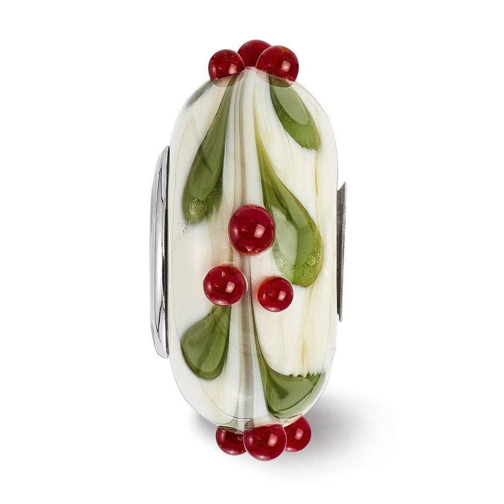 Alternate view of the Fenton Sterling Silver Hand Painted Magical Holly-Days 3D Glass Charm by The Black Bow Jewelry Co.