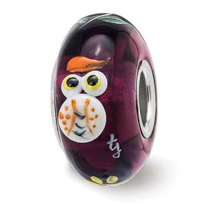 Fenton Sterling Silver Hand Painted Whooo! 3D Glass Charm - The Black Bow Jewelry Co.