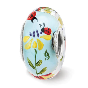 Alternate view of the Fenton Sterling Silver Hand Painted Ladybug Love Glass Charm by The Black Bow Jewelry Co.
