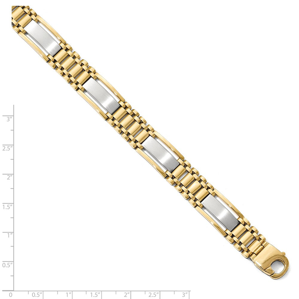Alternate view of the Men's 12.5mm 14k Two Tone Gold Polished & Satin Link Bracelet, 8.5 In. by The Black Bow Jewelry Co.