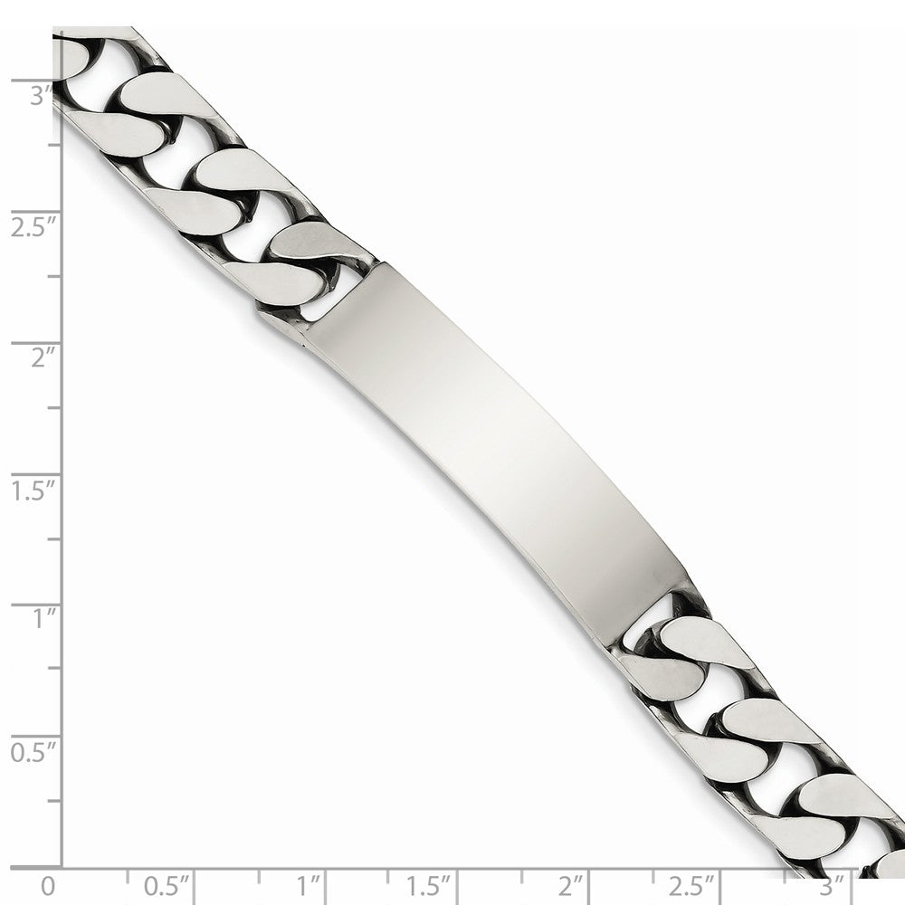 Alternate view of the Mens 10mm Antiqued Sterling Silver Engravable Curb Link I.D. Bracelet by The Black Bow Jewelry Co.