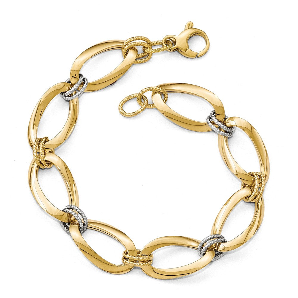 14k Two Tone Gold 13mm Polished & D/C Hollow Link Chain Bracelet, 8 In, Item B13466 by The Black Bow Jewelry Co.