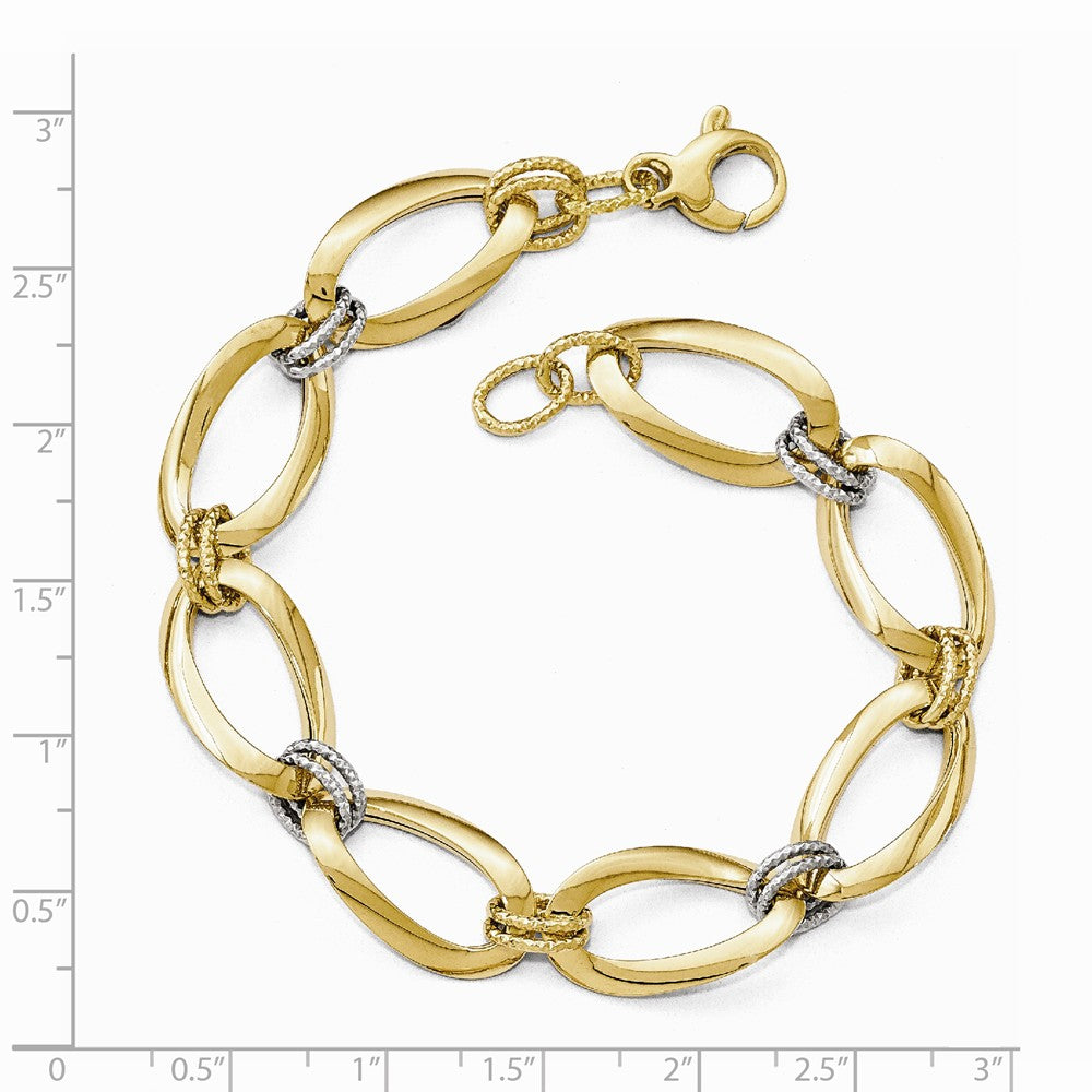 Alternate view of the 14k Two Tone Gold 13mm Polished & D/C Hollow Link Chain Bracelet, 8 In by The Black Bow Jewelry Co.