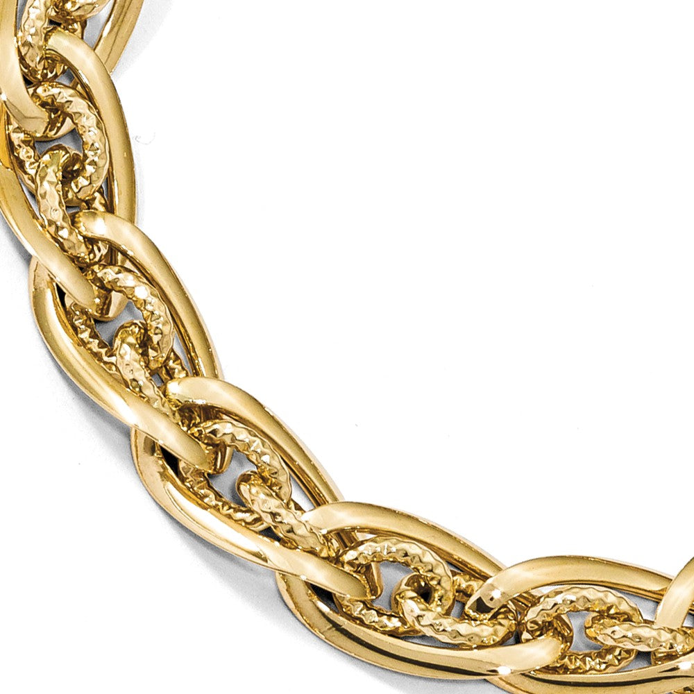 14k Yellow Gold Polished & D/C Graduated Fancy Chain Bracelet, 8 Inch, Item B13476 by The Black Bow Jewelry Co.