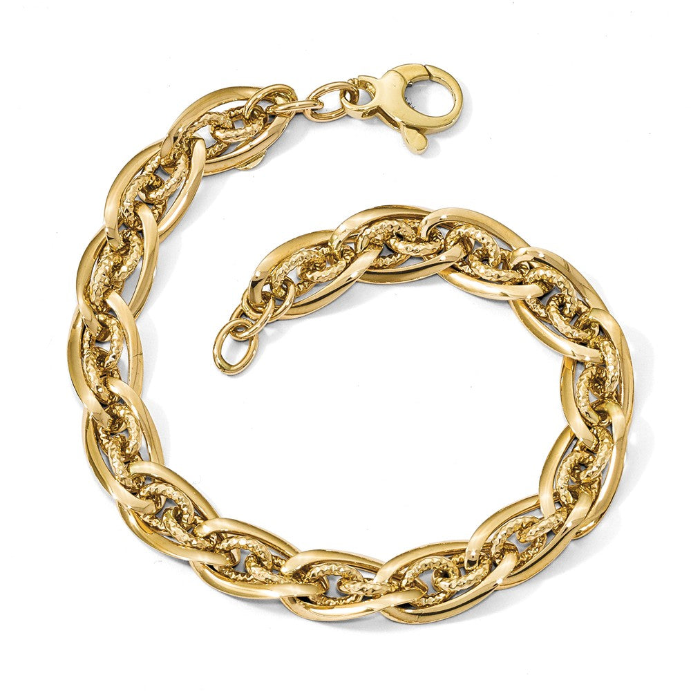 Alternate view of the 14k Yellow Gold Polished & D/C Graduated Fancy Chain Bracelet, 8 Inch by The Black Bow Jewelry Co.