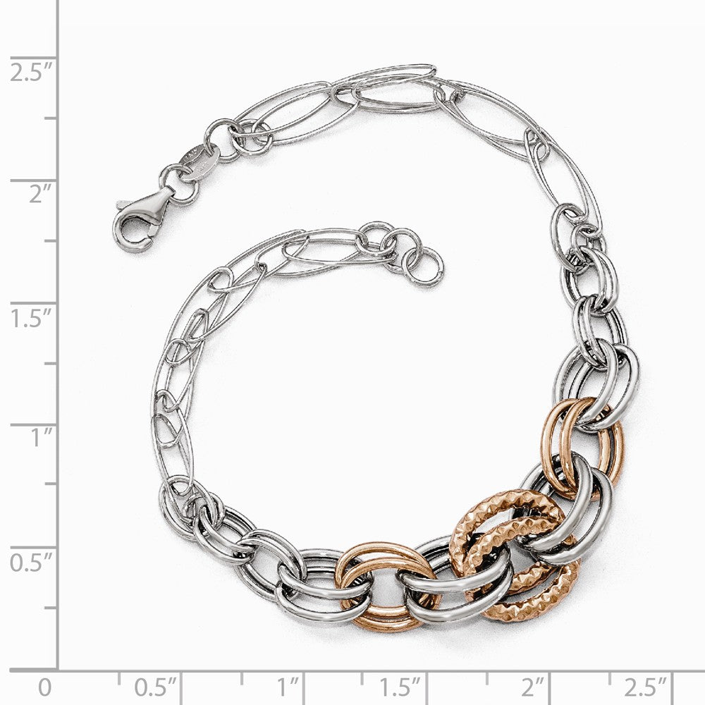 Alternate view of the 14k Two Tone Gold Fancy Double Link Chain Bracelet, 8 Inch by The Black Bow Jewelry Co.
