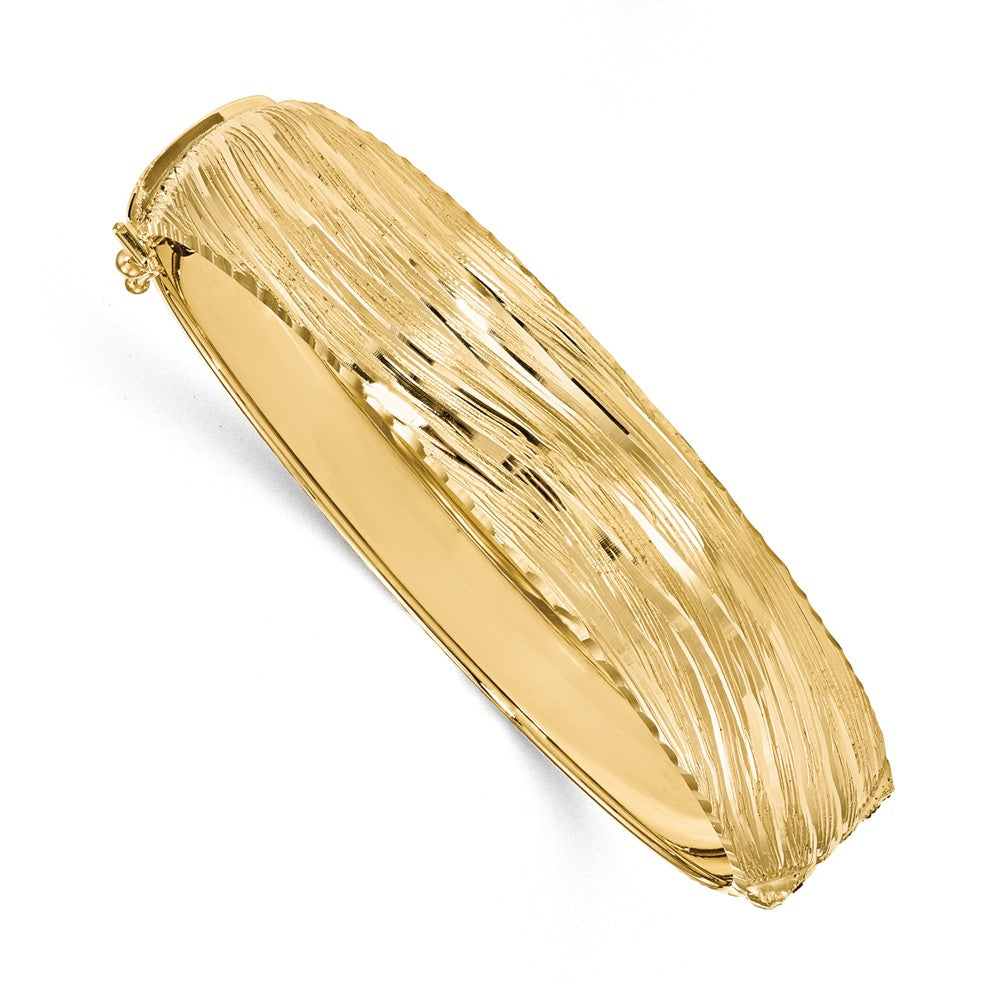 14.25mm 14k Yellow Gold Textured & D/C Hinged Bangle Bracelet, Item B13509 by The Black Bow Jewelry Co.