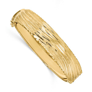 14.25mm 14k Yellow Gold Textured & D/C Hinged Bangle Bracelet - The Black Bow Jewelry Co.