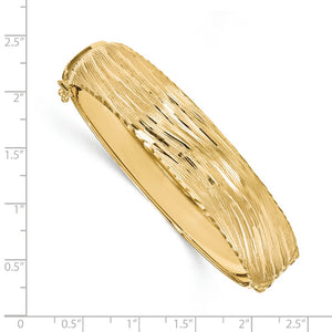 Alternate view of the 14.25mm 14k Yellow Gold Textured & D/C Hinged Bangle Bracelet by The Black Bow Jewelry Co.