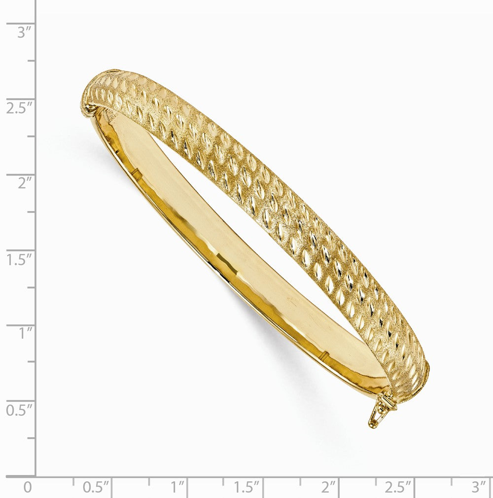 Alternate view of the 10mm 14k Yellow Gold Brushed & Diamond Cut Hinged Bangle Bracelet by The Black Bow Jewelry Co.